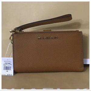 NWT MK Double Zip Wristlet Wallet- Acorn